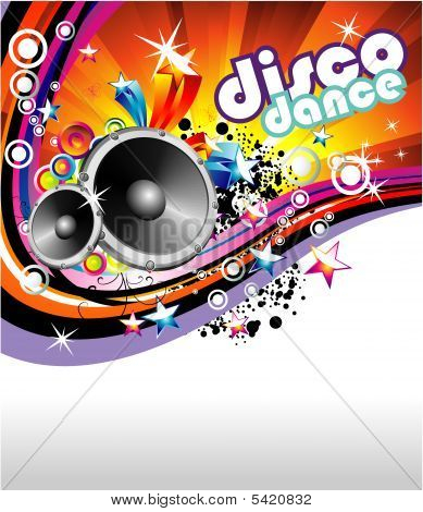 Disco Dance Music Colorful Background With high contrast colors poster