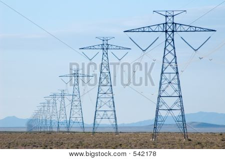 Electricity Lines In Desert