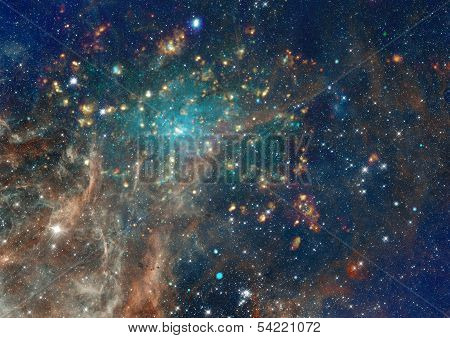 "Star field in space, a nebulae and a gas congestion. ""Elements of this image furnished by NASA"". poster"