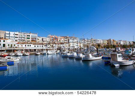 Ciutadella Menorca marina Port boats view in Balearic Islands poster