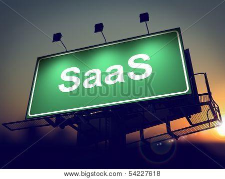 SAAS - Billboard on the Sunrise Background.