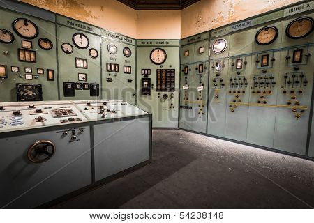 Electric Controller Room In An Old Metallurgical Factory