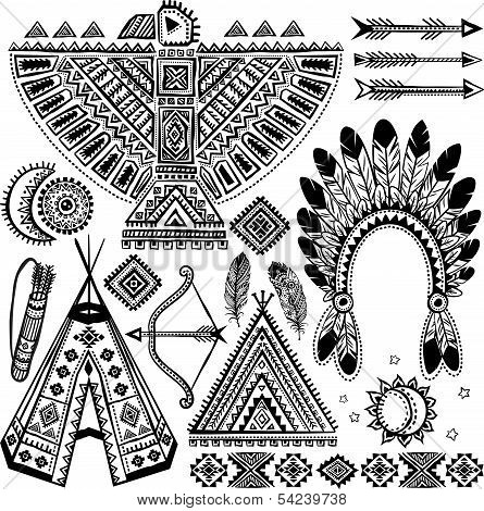Tribal native American set of symbols