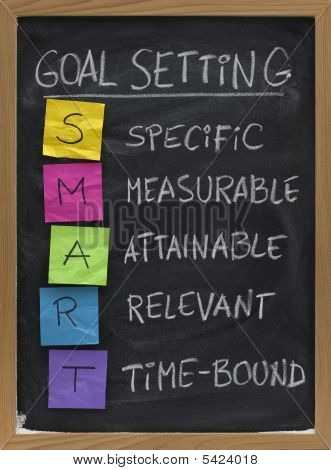 SMART (Specific Measurable Attainable Relevant Time-bound) goal setting concept presented on blackboard with colorful crumpled sticky notes and white chalk handwriting poster