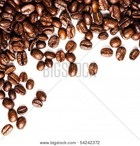 Roasted Coffee Beans  Background Or Texture With White Copy Space Closeup
