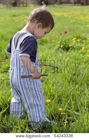 Child Plying On Grass With Sticks Of Wood.