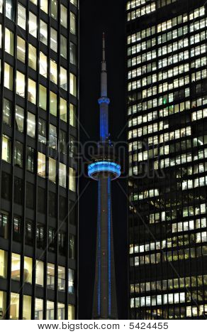 CN tower at night