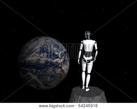 Robot Woman Looking At Earth.