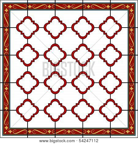 Medieval Style Design Window Or Tile With Fleur De Lys Border