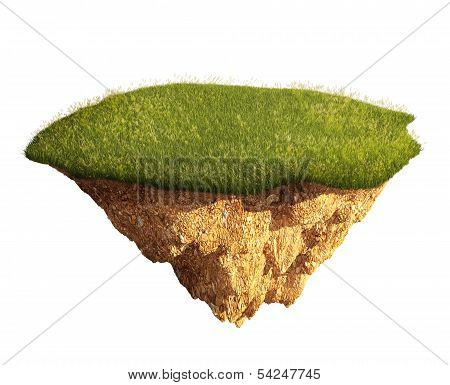 lawn island floating isolated on white background poster
