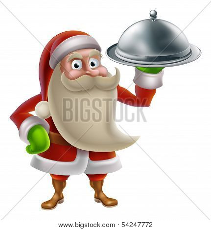 Cartoon Santa Cooking Christmas Dinner