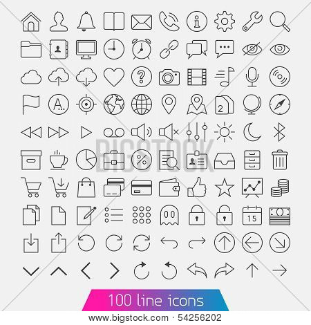 100 Line Icon Set.