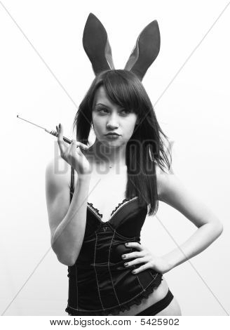 Young Seductive Woman With Rabbit Ears