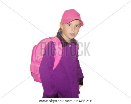 Girl In A Coat Qith A Pink Rucksack