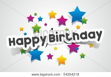 Happy Birthday coloured card on gradient background
