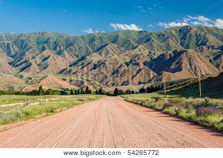 Wide country road in Kyrgyzstan