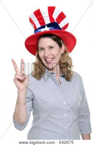 patriotic woman showing the peace symbol isolated against a white background. poster
