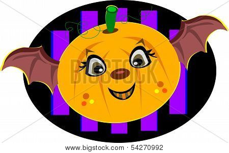Pumpkin with Bat Wings