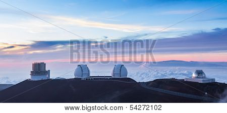 Four Observatories at sunset, Hawaii