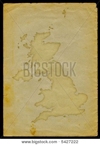 UK map on old paper