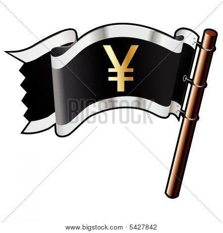 Japanese Yen Icon On Pirate Flag