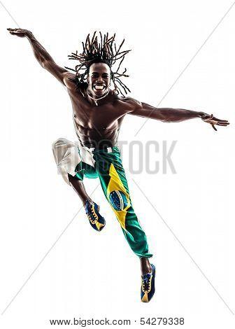 one brazilian black man dancer dancing jumping on white background