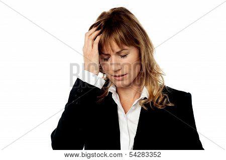 Corporate Woman Having Headache