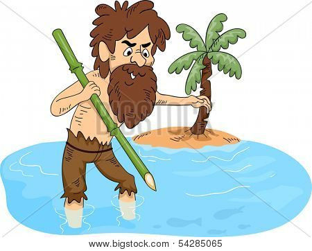 Illustration of a Man Stranded on an Island Trying to Catch Some Fish