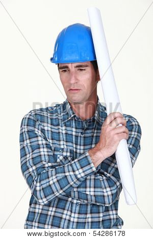 Worker deep in his thoughts