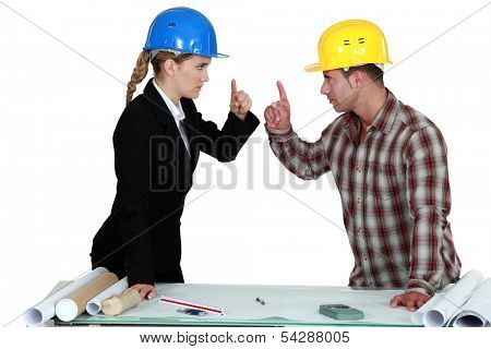Engineer having an argument poster