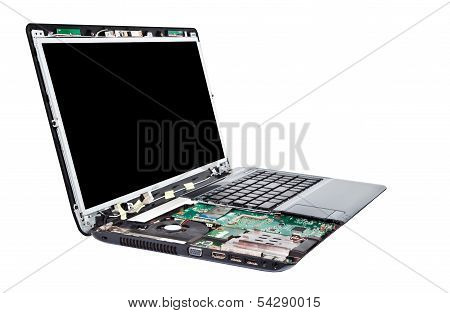 Laptop Half Disassembled. Laptop Repair Service