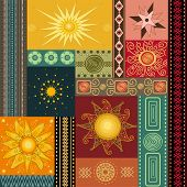 Collage painting with stylized ethnic sun in vector poster