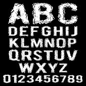 Vector set of white polygonal broken alphabet on a black background poster