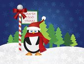 Christmas Penguin with Red Santa Hat and Scarf Standing by Santa Stop Here Sign Post with Night Winter Snow Scene Background Illustration poster