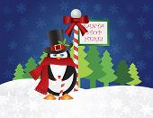 Christmas Penguin with Top Hat and Scarf Candy Cane Standing by Santa Stop Here Sign Post with Night Winter Snow Scene Background Illustration poster