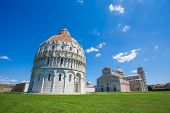 Pisa Piazza del Duomo with Battistero Basilica and the leaning tower Italy poster