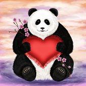 Big panda with a heart-shaped pillow. Digital art. poster
