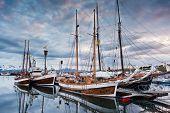 North sailing schooners, original icelandic sailing boat. Husavik harbour, Iceland. poster