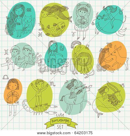 Cute cartoon zodiac set in vector