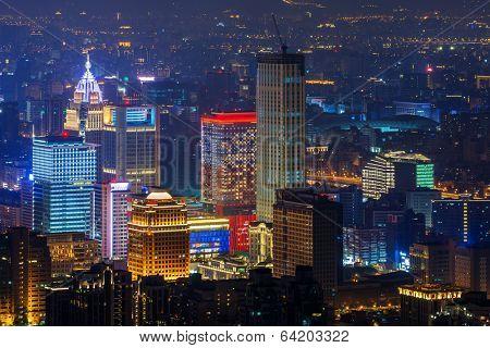 Modern city night with skyscrapers in Taipei, Taiwan, Asia.