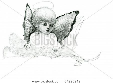 Little angel with wings and halo doodle pencil sketch with wings and halo poster