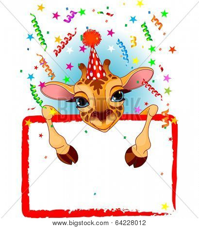 Adorable Baby Giraffe Wearing A Party Hat, Looking Over A Blank Starry Sign With Colorful Confetti. Raster version.   poster