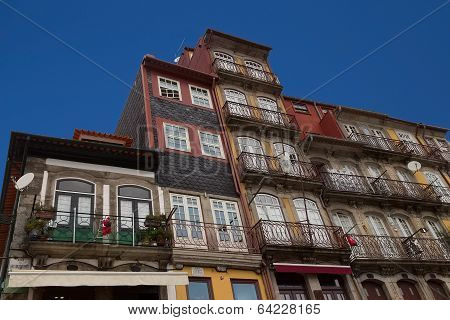 The facade with balconies
