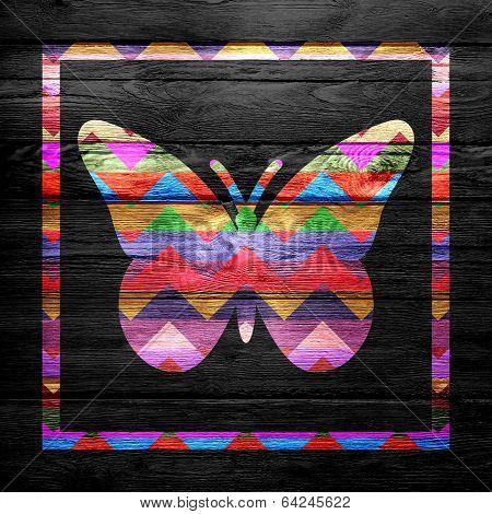 Chevron Butterfly Pattern on Wood - ArtWork Pop Art poster