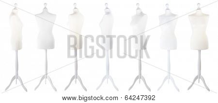 Female mannequin from different angles isolated on white