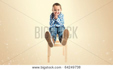 Blonde Boy Pleading Over Isolated White Background
