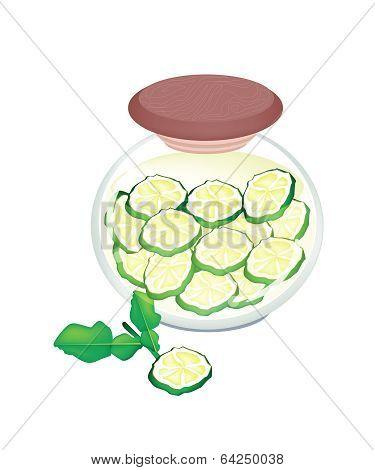 Preserved Kaffir Lime Fruit In A Jar