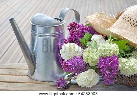 Flowers In Basket On Terrace