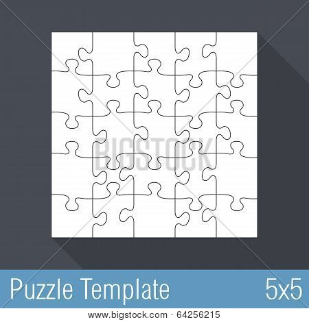 Jigsaw puzzle template 25 Pieces 5x5, vector eps10 illustration poster