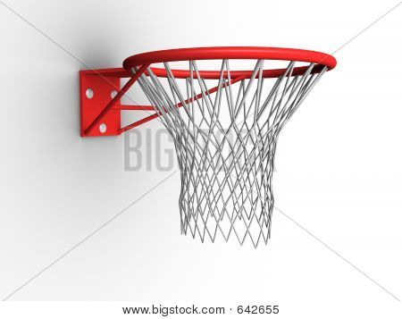 3d image of a basketball hoop with net. poster